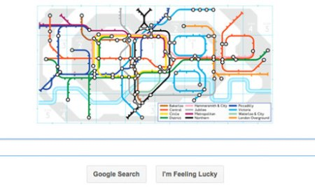 A Google doodle in which the search engine's six letter name is spelt out in the shape of a London underground map has been created to celebrate the 150th birthday of the tube.
