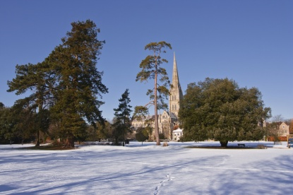 Salisbury cathedral after a snow fall.
