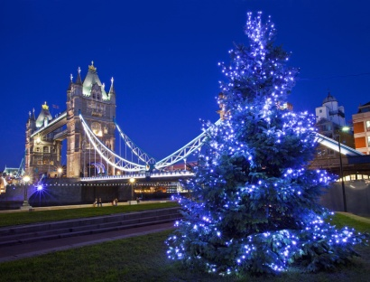 LONDON, UK - 19TH DECEMBER 2014: A beautiful view of Tower Bridge during Christmas time in London on 19th December 2014.