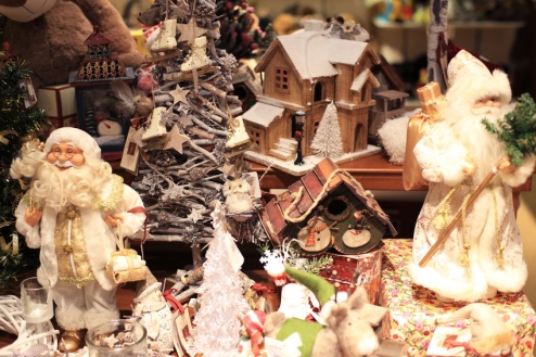 Children's store with antique toys, Santa Claus and snowman